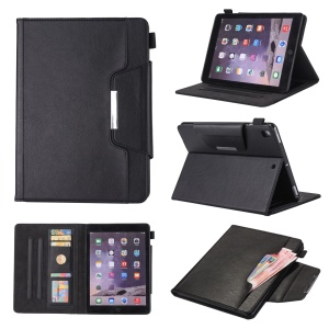 Crazy Horse Leather Wallet Stand Smart Casing for iPad 9.7-inch (2018)/9.7-inch (2017)/9.7 inch (2016)/Air 2/Air - Black