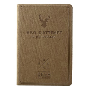 Imprint Deer and Quote PU Leather Stand Phone Casing for iPad Mini 3/2/1 - Khaki