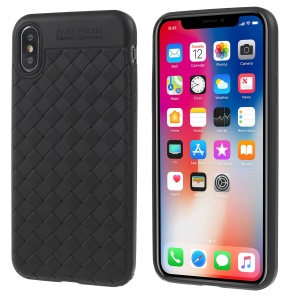 Woven Pattern TPU Gel Mobile Cover for iPhone X - Black
