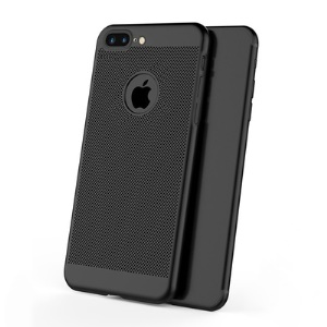 Hollow Mesh Heat Dissipation Matte PC Mobile Phone Casing for iPhone 8 Plus 5.5 inch - Black