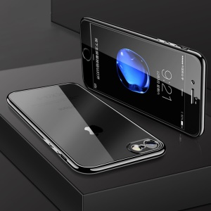 All-wrapped Electroplated Gel TPU Case with Tempered Glass Film for iPhone 8/7 4.7 inch - Black