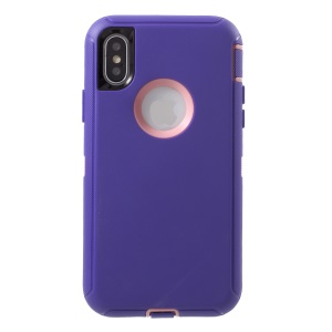 Detachable Shockproof Drop-proof Dust-proof PC + Silicone Hybrid Protective Case for iPhone XS/X 5.8 inch - Pink / Purple