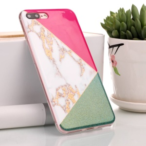 Flash Powder Marble Pattern IMD TPU Cover Case for iPhone 8 Plus / 7 Plus - Red / Green