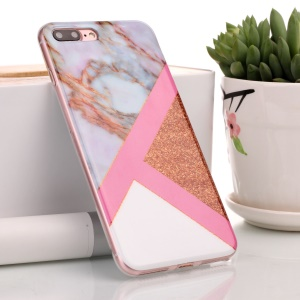 Flash Powder Marble Pattern IMD TPU Shell Cover Case for iPhone 8 Plus / 7 Plus - Pink / Rose Gold