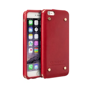 QIALINO Genuine Leather Cover with Rivets for iPhone 6s/6 4.7-inch - Red