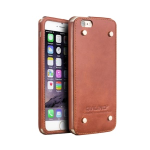 QIALINO Genuine Leather Shell with Rivets for iPhone 6s/6 4.7-inch - Brown