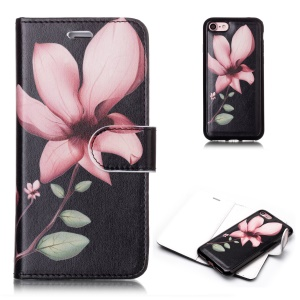 Pattern Printing Detachable 2-in-1 Wallet Leather Phone Case for iPhone 8 / 7 4.7 inch - Pink Flower