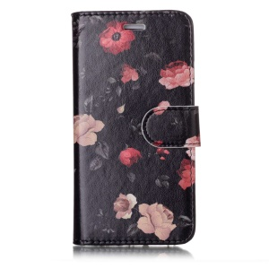 Pattern Printing Detachable 2-in-1 Wallet Leather Case with Card Holders for iPhone 8 / 7 4.7 inch - Pink and Red Flower