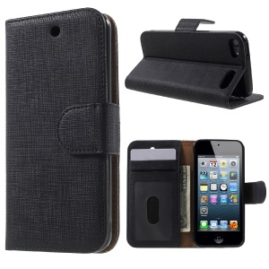 Seamless Plaid Wallet Leather Case Stand for iPod Touch 6 5 - Black