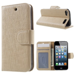 Seamless Plaid Wallet Leather Cover Case for iPod Touch 6 5 - Champagne