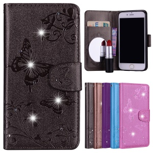 For iPhone 6s / 6 4.7-inch Imprinted Butterfly Flower Rhinestone Leather Wallet Case with Mirror - Black
