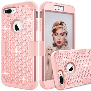 3-piece Starry Sky Rhinestone PC + Silicone Hybrid Shell for iPhone 8 Plus / 7 Plus 5.5 inch - Rose Gold