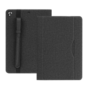 Cloth Texture PU Leather Card Slots Stand Smart Case with Pen Holder for iPad 9.7 (2018)/9.7 (2017)/Pro 9.7/iPad Air 2/Air - Black