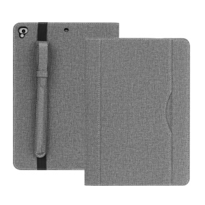 Cloth Texture PU Leather Card Slots Stand Smart Cover with Pen Holder for iPad 9.7 (2018)/9.7 (2017)/Pro 9.7/iPad Air 2/Air - Grey