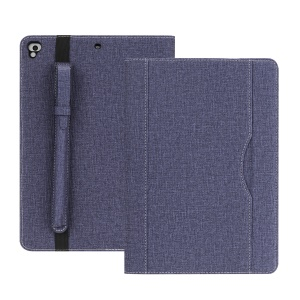 Cloth Texture PU Leather Card Slots Smart Protective Case with Pen Holder for iPad 9.7 (2018)/9.7 (2017)/Pro 9.7/iPad Air 2/Air - Blue
