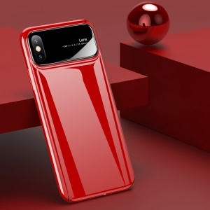 USAMS MEO Series Glossy Tempered Glass + PC Back Phone Case for iPhone X - Red