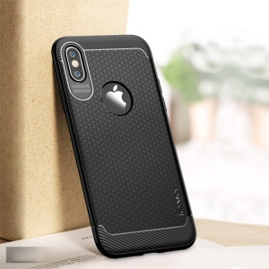 IPAKY Anti-shocking TPU Back Phone Case for iPhone XS/X 5.8 inch - Black