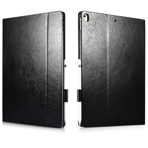 XOOMZ Knight Series Crazy Horse PU Leather Smart Case for iPad Pro 12.9 (2017) - Black