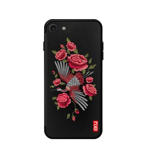 NXE Traditional Peony Animal Embroidery PC + TPU Hybrid Case for iPhone 8/7 4.7-inch - Crane on Black Background