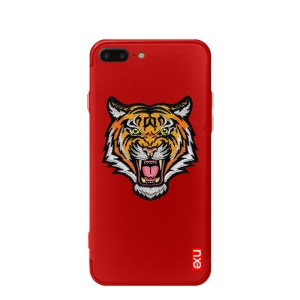 NXE Traditional Peony Animal Embroidery PC + TPU Hybrid Shell for iPhone 8 Plus / 7 Plus - Tiger on Red Background