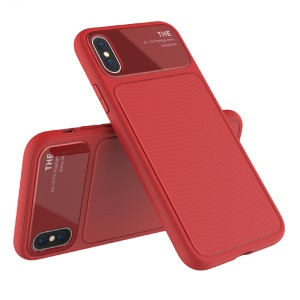 LENUO Tempered Glass Lens TPU Cover for iPhone XS/X - Red