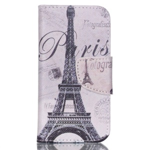 Patterned Leather Wallet Case for iPod Touch 5/6 with Stand - Eiffel Tower