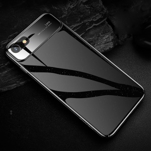 USAMS MEO Series for iPhone 8 / 7 4.7 inch Glossy Tempered Glass + PC Back Case - Black