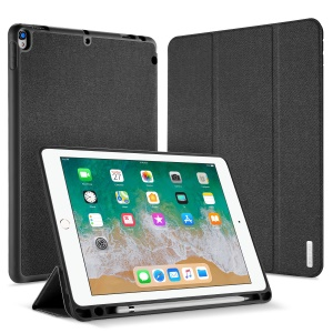 DUXDUCIS Domo Series Cloth Texture Tri-fold Stand PU Leather Smart Case for iPad Air 10.5 (2019) / Pro 10.5-inch (2017) - Black