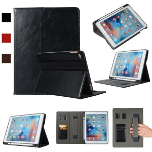 Leather Card Holder Stand Smart Tablet Case with Pen Slot for iPad 9.7-inch (2018)/9.7-inch (2017)/Pro 9.7 inch (2016)/Air 2/Air - Black