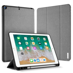 DUXDUCIS Domo Series Cloth Texture Tri-fold Stand Smart Leather Cover for iPad 9.7-inch (2018) / 9.7-inch (2017) - Grey