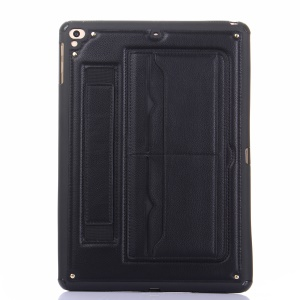 Card Holder Kickstand PU Leather Coated TPU Gel Cover with Elastic Strap for iPad 9.7 (2018)/9.7 (2017)/Pro 9.7 inch/Air 2/Air - Black