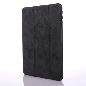 Vintage Style Tri-fold Stand Leather Tablet Case with Pen Slot for iPad 9.7 (2018)/9.7 (2017) - Black