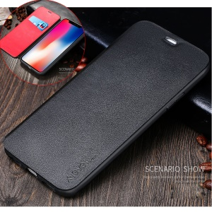 X-LEVEL Card Holder Leather Flip Phone Case for iPhone X - Black