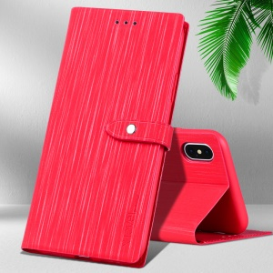X-LEVEL Wood Textured PU Leather + Soft TPU Stand Phone Case for iPhone X - Red