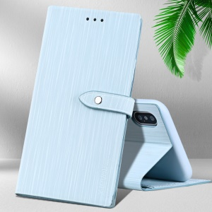 X-LEVEL Wood Textured PU Leather + Soft TPU Stand Phone Protection Case for iPhone X - Baby Blue