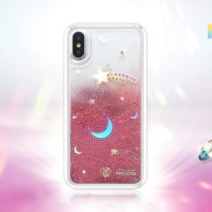 KAVARO Weather Series Laser Iridescence Liquid Quicksand Rhinestone Hybrid Case for iPhone X - Red