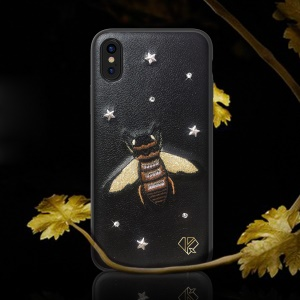 KINGXBAR Garden Series Crystal Embroidery Pattern PU Leather Coated Bayer TPU Case for iPhone XS / X 5.8 inch - Wasp