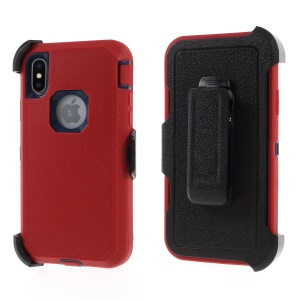 Litchi Textured Belt Clip Kickstand Heavy Duty PC + TPU + Silicone Hybrid Shell for iPhone Xs/X 5.8 inch - Red