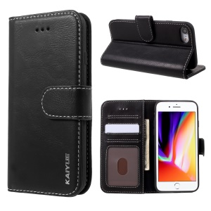 KAIYUE Genuine Leather Wallet Stand Phone Shell for iPhone 8/7 4.7 inch - Black