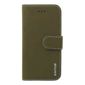 KAIYUE Genuine Leather Wallet Phone Casing for iPhone 8/7 4.7 inch - Army Green