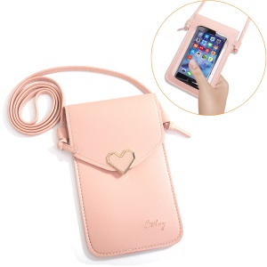 MUSUBO Universal Heart Leather Transparent Touch Screen Bag, Size: 5.5 x 7.7inch - Light Pink