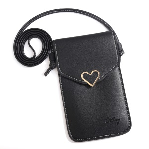MUSUBO Universal Heart Leather Transparent Touch Screen Bag Punch, Size: 5.5 x 7.7inch - Black