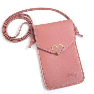 MUSUBO Chic Universal Heart Leather Transparent Touch Screen Bag, Size: 5.5 x 7.7inch - Deep Pink