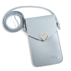 MUSUBO Stylish Universal Heart Leather Transparent Touch Screen Bag, Size: 5.5 x 7.7inch - Baby Blue