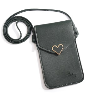 MUSUBO Universal Heart PU Leather Transparent Touch Screen Bag, Size: 5.5 x 7.7inch - Green