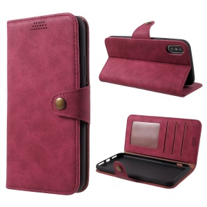 Wallet Leather Stand Case for iPhone X - Red