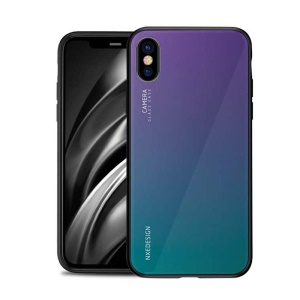 NXE Tempered Glass Back + TPU Hybrid Phone Case for iPhone XS/X - Multi-color