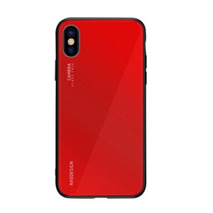 NXE Tempered Glass Back + TPU Hybrid Phone Cover for iPhone XS/X - Red