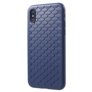 Fish Scale Pattern TPU Phone Protection Casing for iPhone XS/X 5.8 inch - Blue