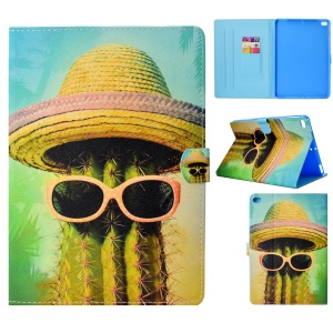 Cactus Wearing Hat and Glasses - Pattern Printing Card Holder Stand Leather Smart Cover for iPad 9.7-inch (2018)/9.7-inch (2017)/Air 2/Air